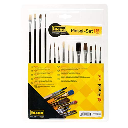Idena 60109 - Pinselset, 15-teilig, verschiedene Sorten, Borstenpinsel, Rundpinsel & Aquarellpinsel