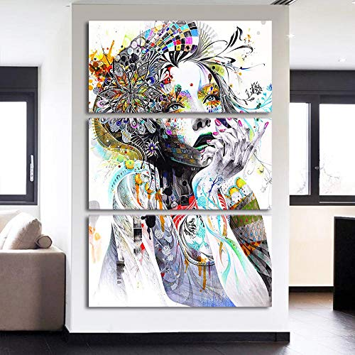 WXQHYD Wallpaper Paste Wall Art Paintings Home Decor 3 Pieces Abstract Watercolor Girl Face Flower Hair Pictures Modular HD Prints Poster (Size (Inch) : 30cmx60cmx3pcs)