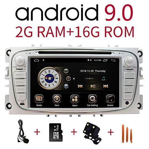 Radio estéreo para coche en el tablero de navegación para Ford Focus S-MAX Mondeo C-MAX Galaxy, pantalla táctil HD de 7 pulgadas Android 9.0 reproductor de DVD de doble DIN Bluetooth