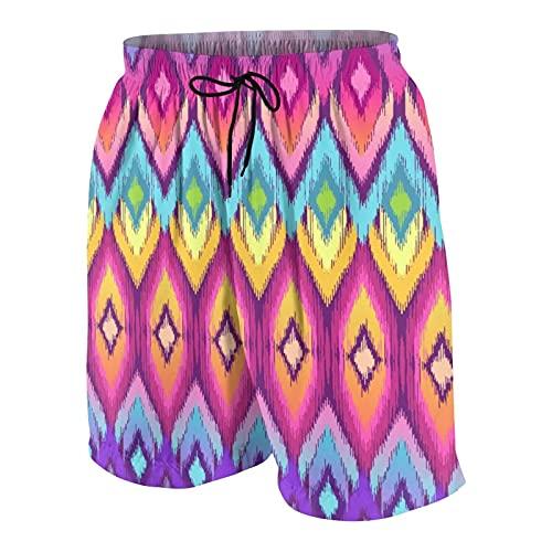 SUHOM Uomo Casuale Pantaloncini da Surf,Piastrella Ikat Arcobaleno,Asciugatura Veloce Costume da Bagno Sportivo Abbigliamento da Spiaggia con Fodera in Rete
