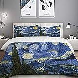 MOBEITI Set Biancheria da Letto,Set Copripiumino in Microfibra con Federa,Notte Stellata Van Gogh Oil Painting,1 Copripiumino140 x 200cm + 2 federe 50 x 80 cm