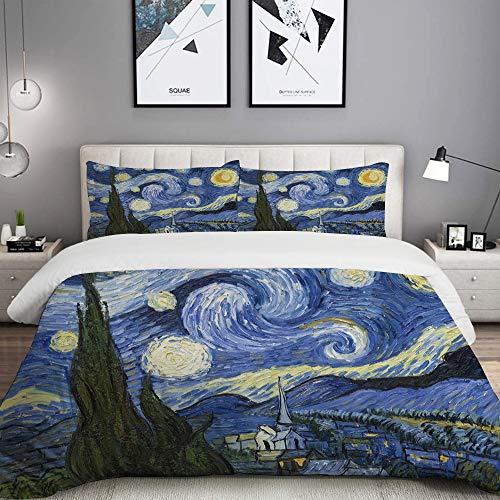 MOBEITI Bedding Juego de Funda de Edredón,Noche Estrellada Van Gogh Pintura al óleo,Microfibra Funda de Nórdico y Fundas de Almohada - 220 x 240cm
