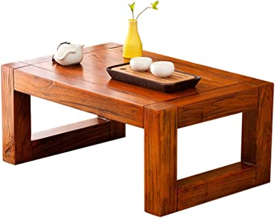 Tea Table Solid Wood Antique Tea Table Small Coffee Table Chinese Simple Balcony Tatami Coffee Table Bay Window Table Tables (Color : Brown, Size : 60 * 40 * 25cm)