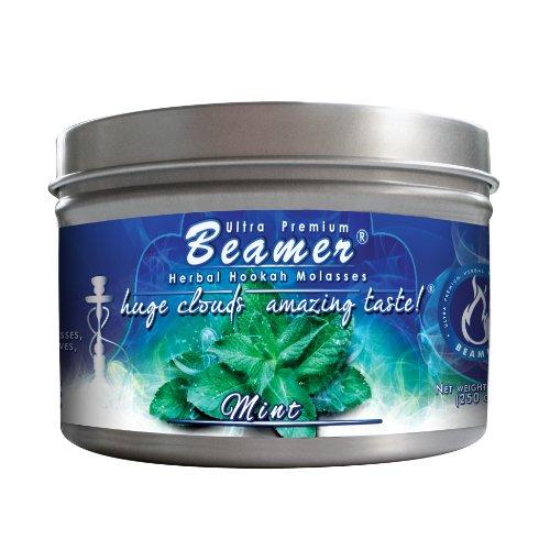 Mint Beamer Ultra Premium Hookah Molasses 250 gram tin. Huge Clouds, Amazing Taste! 100 % Tobacco, Nicotine & Tar Free but more taste than tobacco! Compare to Hookah Tobacco! GREAT TASTE, LOTS OF SMOKE & SMELLS GREAT!!!
