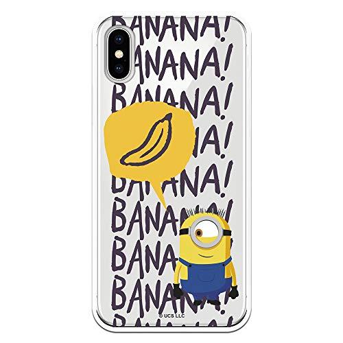 Funda para iPhone X - XS Oficial de Los Minions Los Minions Banana para Proteger tu móvil. Carcasa para Apple de Silicona Flexible con Licencia Oficial de Universal.