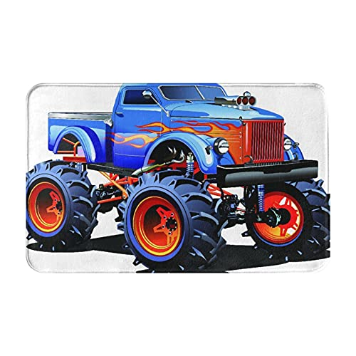 NANITHG Alfombra de Baño Antideslizante,Dibujos Animados Monster Truck Neumáticos enormes Off Road Heavy Large Tractor Ruedas Turbo,Absorbente Tapete del Piso de Microfibra de Lavable a Máquina Suave