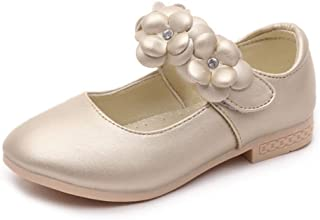 Aiweijia Girls Kids Flower Flat Wedding Bridesmaid Shoes Princess shoes