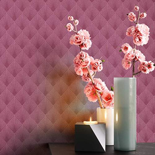 NEWROOM Tapete grafisch lila Muster Tapeten der 50er Art Deco Vliestapete Vlies Tapete Luxus Modern Glamour inkl. Tapezier Ratgeber ǀ Grafik