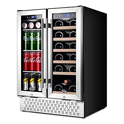 Wine and Beverage Refrigerator 24 Inch, Dual Zone Wine Beverage Cooler with Memory Temperature Control Built-in or Freestanding, Quick Cooling Mini Wine Beer Fridge, Quiet Operation, Hold 18 Bottles and 57 Cans