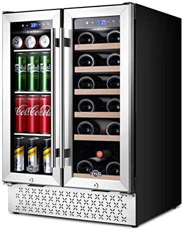 Beverage and Wine Cooler 24 Inch Dual Zone Wine Beverage Refrigerator with Memory Temperature product image