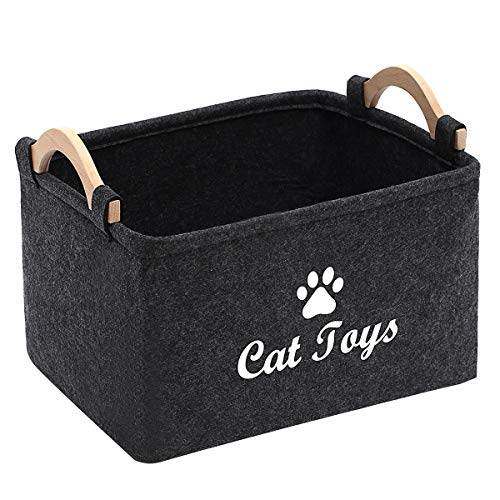 %11 OFF! Geyecete CAT Toys Storage Bins - with Wooden Handle, Pet Supplies Storage Basket/Bin Kids T...