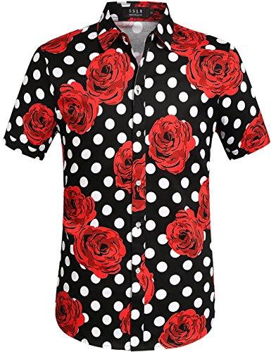 SSLR Camisa Manga Corta Casual Hombre de Rosas y Lunares Grandes