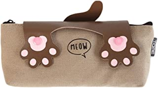 Large Capacity Pencil Case for Boys and Girls Pencil Bag Cute Cat Tai Chi Pencil Bag Korean Student Stationery Bag Simple Zipper Canvas Pen Bag Female (Color : Brown)