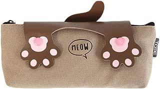 Large Capacity Pencil Case for Boys and Girls Pencil Bag Cute Cat Tai Chi Pencil Bag Korean Student Stationery Bag Simple Zipper Canvas Pen Bag Female (Color : Brown)