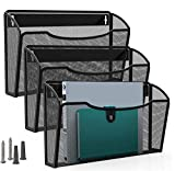 MaxGear Mesh File Holder Wall Organizer 3 Pockets Hanging File Organizers Wall Mounted Pap...
