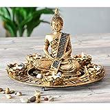 INtrenDU Buddha Dekoteller Bronze mit Teelichthaltern und Deko-Steinen