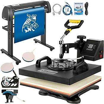 Mophorn Heat Press 15x15 inch Heat Press Machine 5 in 1 for T-Shirt and Vinyl Cutter 34 inch Plotter Machine 870mm Paper Feed Vinyl Cutter Plotter