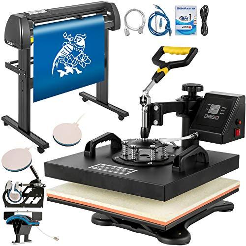 Mophorn Heat Press 15x15 inch Heat Press Machine 5 in 1 for T-Shirt and Vinyl Cutter 34 inch Plotter...