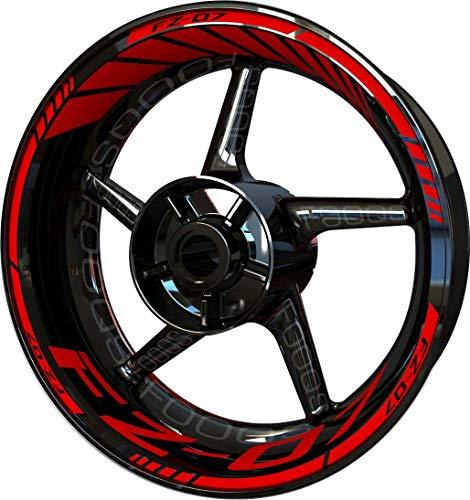 Motocicleta Moto Llanta Inner Rim Tape Decal Pegatinas F2 para Yamaha FZ07 FZ 07 FZ-07 (Rojo)
