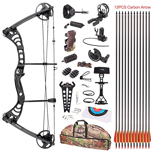 Leader Accessories Compound Bow 30-55lbs Archery Hunting Equipment with Max Speed 296fps (Autumn...