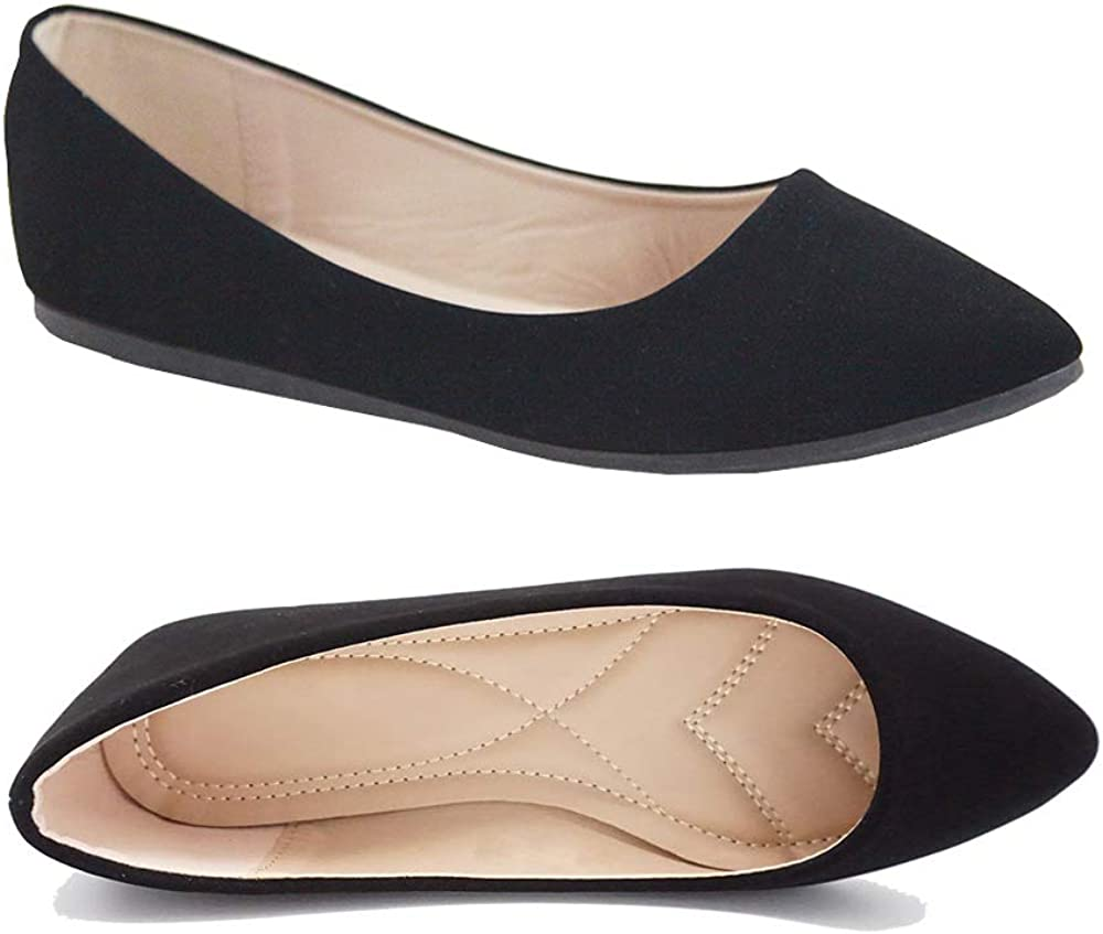 Womens Ballet Flats Pointed Toe Classic Slip On Loafer Shoes Suede//Patent Summer Wedding Shoes