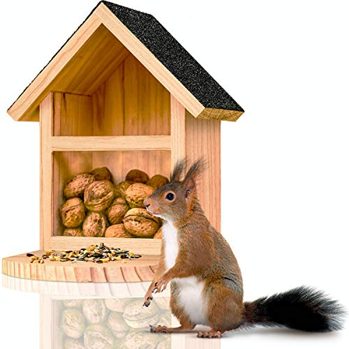 deintierhaus.de© | Eichhörnchen Futterhaus aus robusten Naturholz - fertig montiert & wetterfest - Futterstation zum Aufhängen für Garten & Balkon - Futterautomat, Futterkasten | 28 x 25,5 x 17 cm