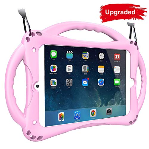 Kids Case for iPad Mini, TopEsct Shockproof Handle Stand Case Cover Compatible with iPad Mini, Mini 2, Mini 3, Mini 4 and Mini 5(2019 Model)(7.9' Mini, Pink)