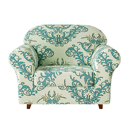 TIKAMI Stretch Printed Sofa Slipcover 2-Piece Couch Cushion Cover Washable Spandex Furniture Protector, Small, Green