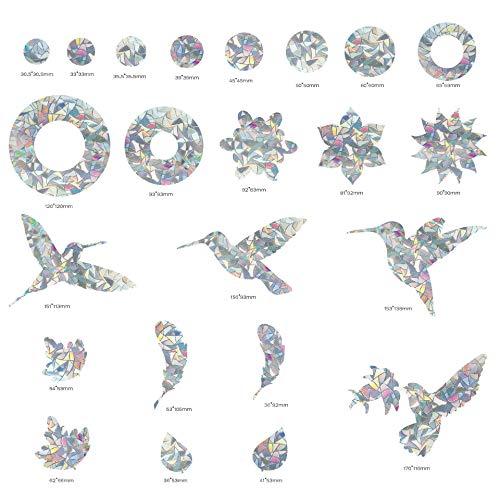 XXCKA 2 Hojas, 23 Piezas, Ventana estática de colibrí, Pegatina de Ventana de Impacto Anti-colibrí, Pegatina de Ventana Redonda de Pluma de Hoja de colibrí