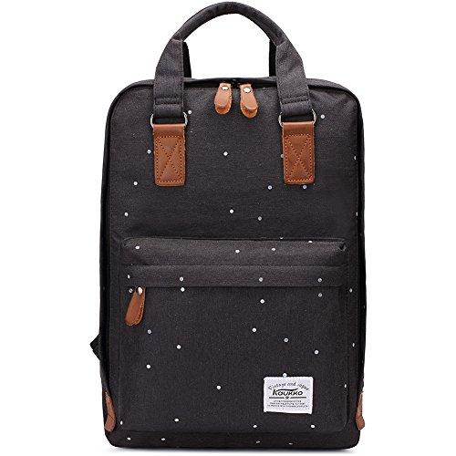 KAUKKO Canvas Laptop Rucksack Daypack Handtasche für Schul Reisen (Black)