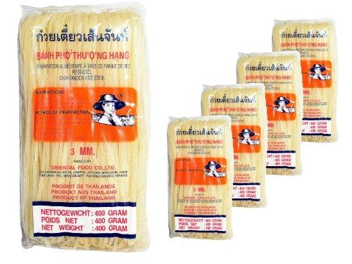 Farmer - 3mm breite Asia Nudeln - 5er Pack (5 x 400g) - Thai Reisnudeln