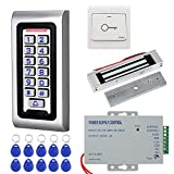 KDL RFID Access Control System Kit Waterproof Controller Keypad with 180kg/350lbs Electric Magnetic Lock, Door Exit Release, for Single Door Entry System