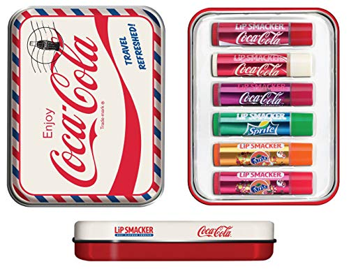 Lip Smacker Coca Cola Geschenkdose: Reiseset mit 6 Lippenpflegestiften in verschiedenen Geschmacksrichtungen + Schlafmaske