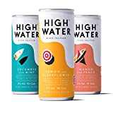 High Water Hard Seltzer Mixed Pack 4 x Mango and Peach, Lemon and Elderflower and Cucumber and Mint | Premium Alcoholic Sparkling Water (5% ABV, 12 x