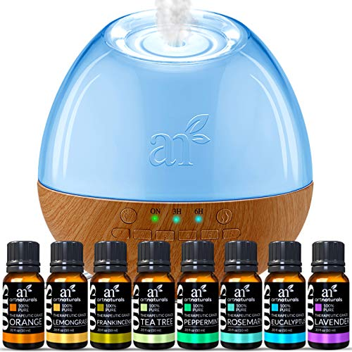 ArtNaturals Essential Oil Blends and Diffuser Set – (8 x 10ml Oils, 400ml Tank) – Aromatherapy Gift Set – Bluetooth Diffuser with LED Lights and Auto Shut Off – for All Rooms