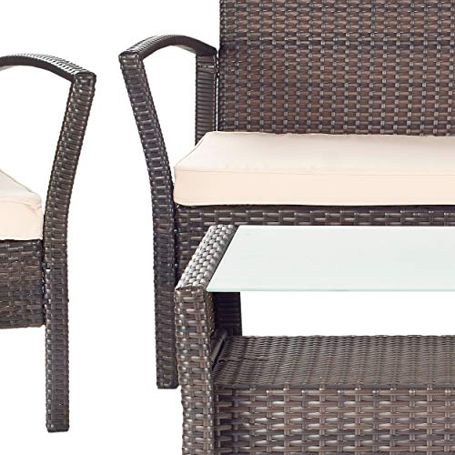 UKN Outdoor Living Brown/Beige Cushion 4-Piece Patio Set Brown Modern Contemporary Traditional Fabric Rattan Included