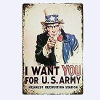 アイウォントユーアメリカ軍お土産 金属板ブリキ看板警告サイン注意サイン表示パネル情報サイン金属安全サイン