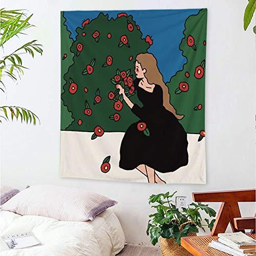 KHKJ Tapiz de niña Colgante de Pared Dulce Rosa niñas Mandala Hippie Tapiz de Fondo Manta de Tela de Picnic decoración A20 200x150cm