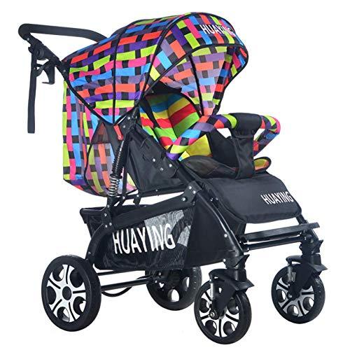 Huckyi Kinderwagen mit Babyschale - Leichter Sportwagen mit Liegeposition, Kinderbuggy bis max. 15 kg, Reisebuggy, Kinderwagen klein zusammenklappbar, Kinderwagen mit Sportsitz,Multicolored