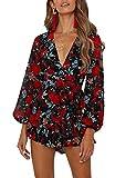Relipop Women's Dresses Jumpsuit Floral Print V Neck Baggy Sleeve Waist Tie Double Layer Ruffle Hem Short Mini Dress Romper (T2, XX-Large)