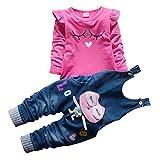 Baby Mädchen Langarm Shirt Overalls Latzhose 2 Stück Prinzessin Neugeborenen Kleinkind Kleidung Set