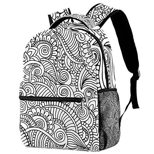 Leisure Daypacks Campus - Mochilas de viaje, diseño de mandala de henna negro y blanco con soporte para botellas para niñas y niños