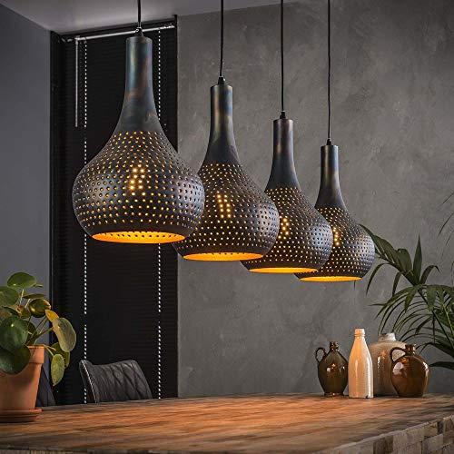 famlights Pendelleuchte Nela aus Metall, Braun, 4x E27, Industriell Design | Vintage Pendellampe für Wohnzimmer,...