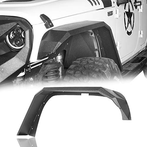 Hooke Road 7' Wide Flat Fender Flares Front & Rear 4 PCS Kit Compatible with Jeep Wrangler JK & Unlimited 2007-2018