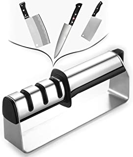 DUDDP knife sharpener Kitchen Knife Sharpener Stainless Steel Manual 3-Stage Knife Sharpening Tool,with Anti Slip Bas,Geramic Rod,Diamond Rod,Tungsten Steel Blade,Restore and Polish Blades,for Straigh