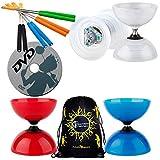 Henrys Beach Diabolo Set with Vega LED Kits + Henry Aluminium Handsticks + Learn Diabolo DVD + Travel Bag! Ultra Bright LED Light Kits on Fixed-Axle Diablo (Red Diabolo/Red Handsticks)