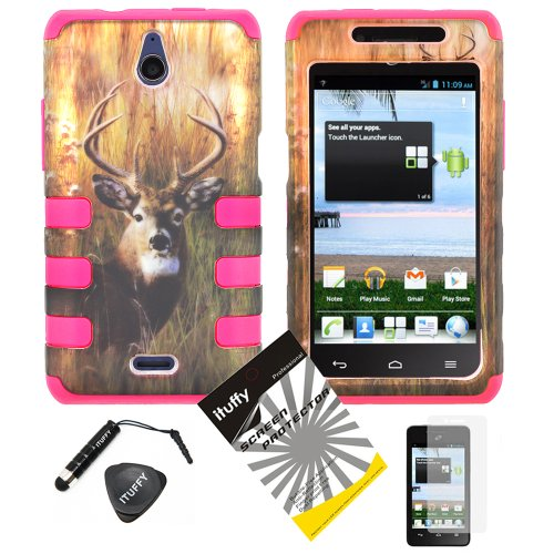4 items Combo: ITUFFY(TM) LCD Screen Protector Film + Mini Stylus Pen + Case Opener + Outdoor Wild Deer Grass Camouflage Design Rubberized Hard Plastic + PINK Soft Rubber TPU Skin Dual Layer Tough Hybrid Case for Huawei VALIANT Y301 / Straight Talk Huawei Ascend Plus H881C