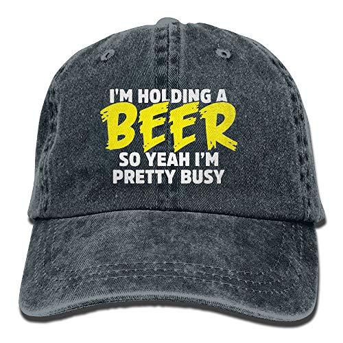 angwenkuanku Unisex Baseball Cap Baumwolle Denim Hut Ich Halte EIN Bier Also ja, ich Bin ziemlich beschäftigt Einstellbare Snapback Sonnenhut wunderschöne 7759