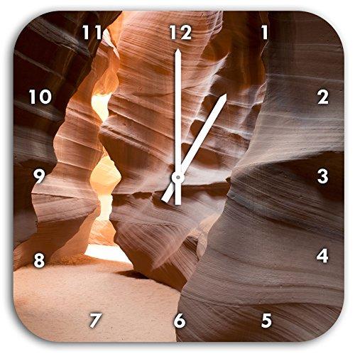 Stil.Zeit Wunderbarer Antelope Canyon Arizona, Wanduhr Quadratisch Durchmesser 28cm mit weißen Spitzen Zeigern und Ziffernblatt
