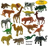 SaleON® 18pc Wildlife Model Children Puzzle Early Education Gift Mini Jungle Animal Toy Set Realistic Animal Figures Toys for Kids , Animal Toy Set Play for Kids (1386)